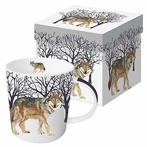 Paperproducts Design 28168 Gift Boxed Porcelain Mug, 13.5 oz, Winter Woods Wolf, Multicolor