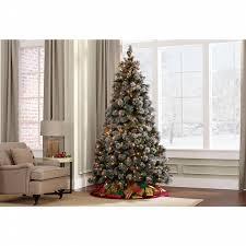 Pre Lighted Christmas Trees by Donner U0026 Blitzen 7 5 U0027 Lightly Flocked Buchanan Pine Pre Lit