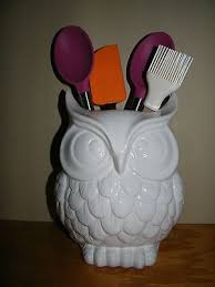 Scuplted White Owl Utensil Holder Kitchen Decor