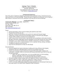 Construction Manager Resume Examples