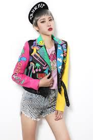 fashion spring women punk graffiti street short leather jackets pu