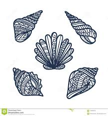 100 Sea Shell Design Hand Drawn S Set Vector Illustration Stock Vector