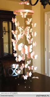 Items Similar To Paper Butterfly Mobile Room Decoration Baby Nursery In Light Pink On Etsy