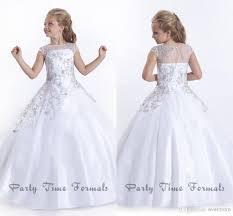 white 2014 flower dresses jewel sweep train glitz u0027s