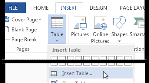 insert or draw a table word