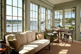 Minimalist White Wooden Sunroom Furniture Layout Near French Windows Plus Olive Wall Paint Color Background