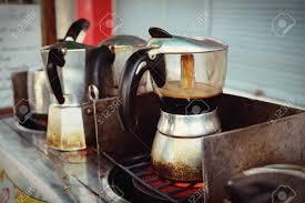 Moka Pot Italian Traditional Coffee Maker With Hot Coffeemaking In Stock