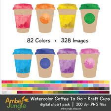 Watercolor Coffee To Go Clipart Cup Clip