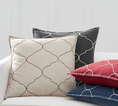 tile embroidered pillow cover pottery barn