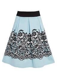 ava baby blue lace border print skirt vintage inspired joanie