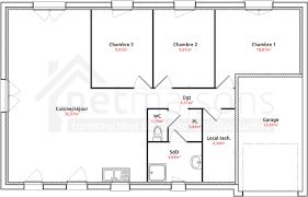 plan maison plain pied 3 chambres en l maison plain pied 3 chambres avec garage immobilier pour tous avec