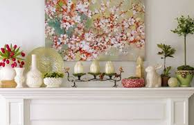 Decorating Over A Fireplace For Spring With Wall Art And Ceramic Eggs Vases Home