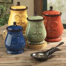 4 Piece Fleur De Lis Canister Set Kitchen CanistersKitchen StorageKitchen Decor