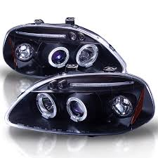 jun yan black dual halo led projector headlights for honda civic 96 98