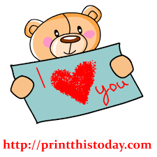 Teddy Bear Holding I Love You Message Clip Art