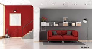 foto auf lager rotes und graues modernes wohnzimmer