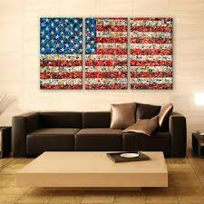 Flag Wall Art Vintage Abstract Canvas Print 3 Panels