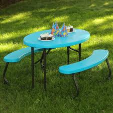 100 Folding Table And Chairs For Kids Lifetime Oval 1Piece Glacier Blue Picnic 60229