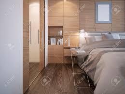 schöne schlafzimmer design holzplatte wanddekoration mit nische weiße wände elegante bett mit konsole holzparkettboden und einen begehbaren