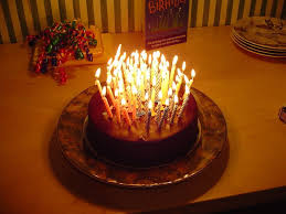 Cake · Happy birthday cake with lots of candles
