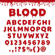 Bloody Latin Alphabet Abc Font Set With Blood Drop Or Red Liquid