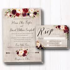 Burgundy Wedding Invitation Rustic Fall Invites