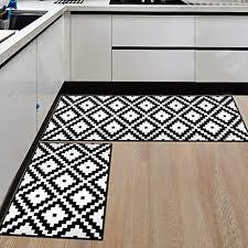 ommda küchen teppiche läufer schwarz und weiß drucken antiskid küchenläufer schlafzimmer dekorativ mit gummirückseite 50x80cm 50x160cm