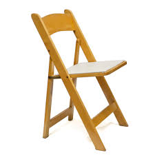 natural wood padded folding chair fine linens event rentals