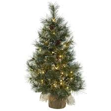 Artificial Tree 3 Foot Christmas Clear Lights Frosted Tips