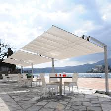 Large Fim Cantilever Patio Umbrella by Flexy 10x16 Freestanding Dual Post Awning