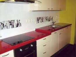 Image Of Stylish Kitchen With Red Laminate Countertops