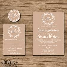 Rustic Wedding Invitation Suite Response Card Monogram Whimsical Barn Garden Wreath Brown Paper Kraft Susan