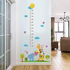 guooe wandtattoo kinderzimmer junge mädchen wandsticker messlatte dekoration abziehbilder wohndeko jungen giraffenaffe baby elefant größenmesser