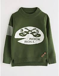 Boys Cartoon Blouse Cotton Fall Long Sleeves Green