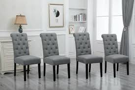 Details About 4x Grey Dining Chairs High Back Fabric Upholstered Button  Tufted Dining Room New Skyline Fniture Tufted Ding Chair In Velvet White Room Chairs Sale Balthazar Leather Linen Set Of 2 Back Nailhead Trim Inspired Home Ashton Non Twill Metal Gray At Pottery Barn Diamond Sofa Nolan Leatherette On Charcoal Powder Coat Frame Gramercy Dark Grey Safavieh Mcr4701cset2 Milo 4 By Tallback Natural Fabric Christopher Details About 4x Beige High Upholstered Button Rockefellar Pu Or Square Arms Chrome Gold Jessica Charles Sebastian 1901t