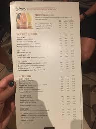 Wine menu at Olive Garden Yelp