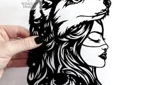 Wolf Mother Paper Cutting Template