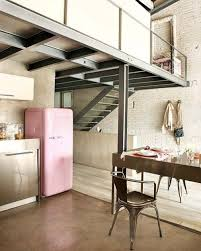 Anything Pink Pale SMEG Refrigerator In An Industrial Loft Kitchen Home