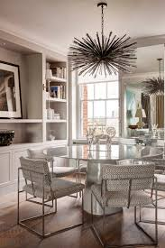 Rounded Glass Top Table Decor With Beaded Chandelier In White Dining Room Modern Contemporary