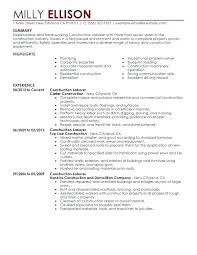Resume Samples For General Labourer