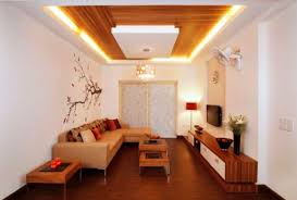 captivating wooden low ceiling with led lights for small living