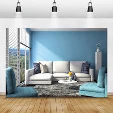 laeacco blau wand fenster sofa innenraum decor fotografie hintergrund wohnzimmer wald bäume foto hintergründe foto studio