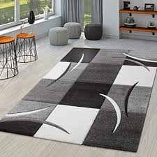 tt home teppich wohnzimmer modern palermo mit konturenschnitt in grau schwarz weiß größe 160x230 cm