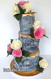 Rustic Birch Wedding Cake With Fresh Roses