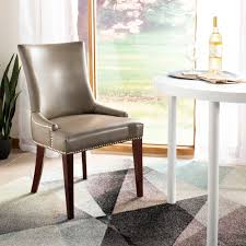 Shop Safavieh Dining Parsons Becca Grey Leather Dining Chair - On ...