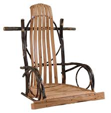 Amish Rustic Hickory Rocker Style Porch Swing