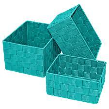 offene regalkörbchen im 3er pack box größen 24x18x14 cm 21x16x12 cm und 19x14x10 cm dekokörbchen türkis