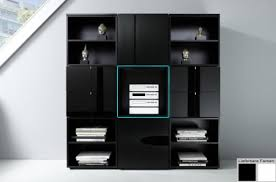 dreams4home wohnwand wohnzimmerschrank regal square kommode weiß o schwarz hochglanz led rgb beleuchtung beleuchtung mit beleuchtung farbe schwarz