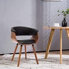 mingone armlehnen retro esszimmerstühle leder und massivholz beine küchenstühle büro computer stühle schwarz