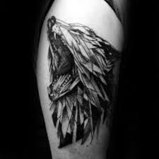Roaring Geometric Wolf Arm Tattoo